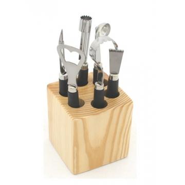 Bloc 6 ustensiles de cuisine support bois