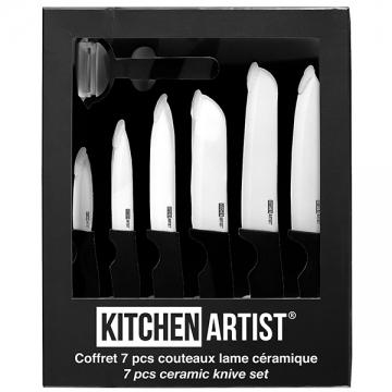 coffret de cuisine 6 couteaux de cuisine et conome lames c ramique. Black Bedroom Furniture Sets. Home Design Ideas