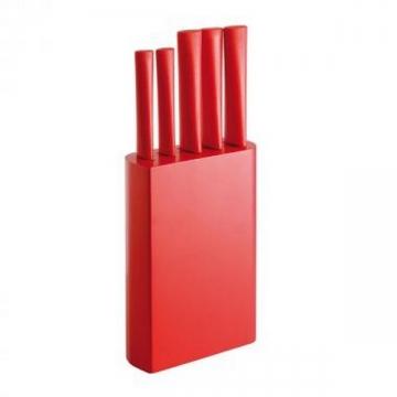 Lot de 5 couteaux de cuisine sur socle rouge