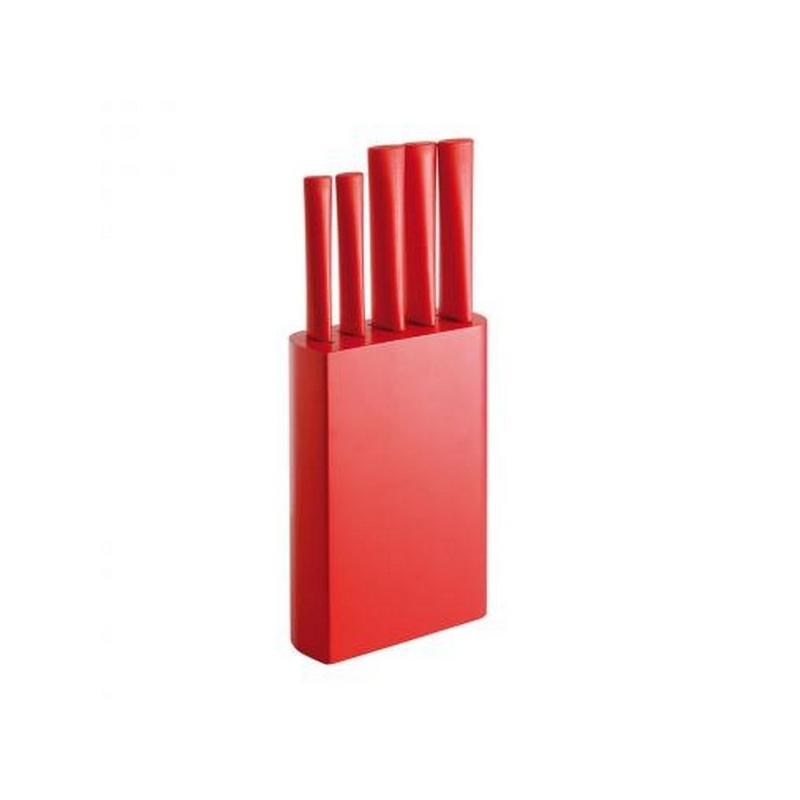Lot de 5 couteaux de cuisine sur socle rouge - Lot couteau de cuisine ...