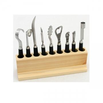 Bloc 9 accessoires dans un support en pin