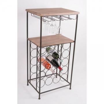 Meuble de cave casier 20 bouteilles + rack à verres