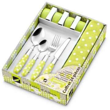 Coffret 16 couverts, 4 serviettes et 6 ronds de serviettes