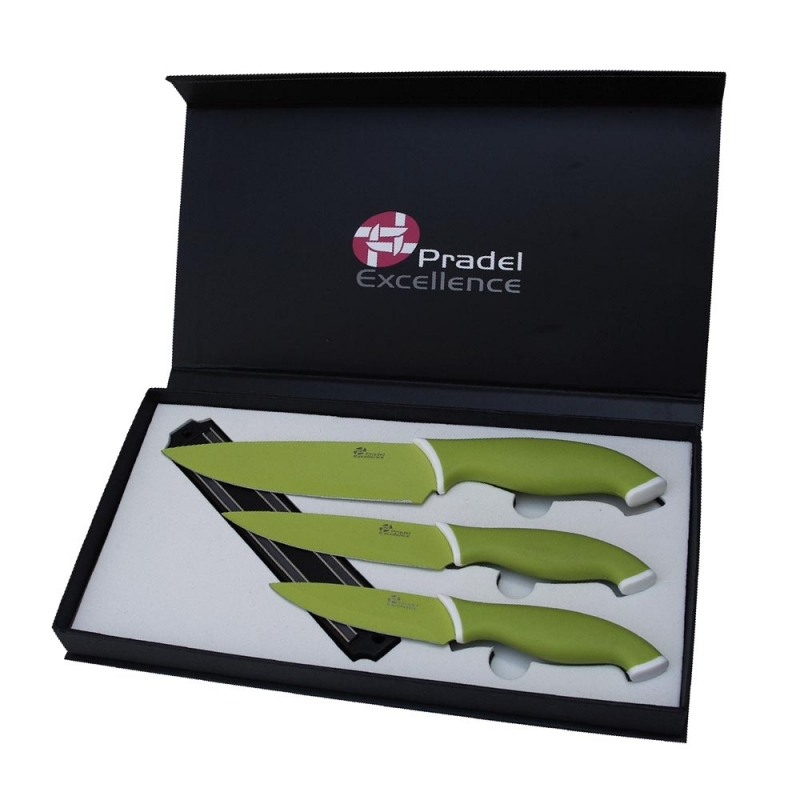 Coffret de couteaux de cuisine couleur vert fun avec barre - Coffret couteaux de cuisine ...