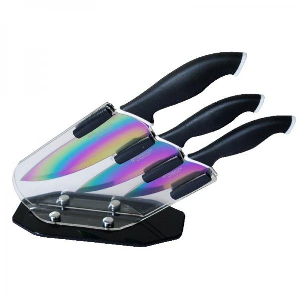 Bloc couteaux de cuisine lames color d grad e rev tement - Bloc couteaux de cuisine ...