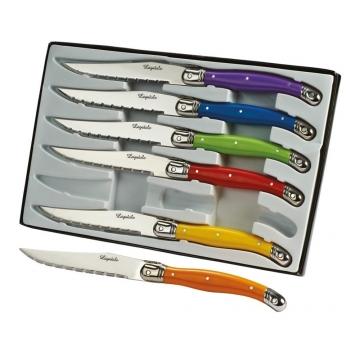 Couteaux à steak x6 manche colorés