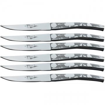 Coffret 6 couteaux de table de Thiers inox forgés décor chasse