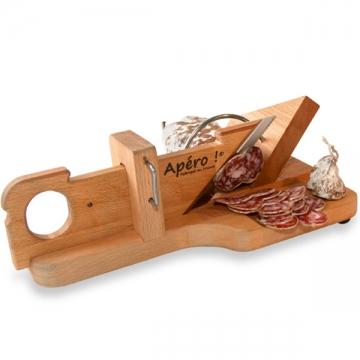Guillotine à saucisson socle en bois d'hêtre