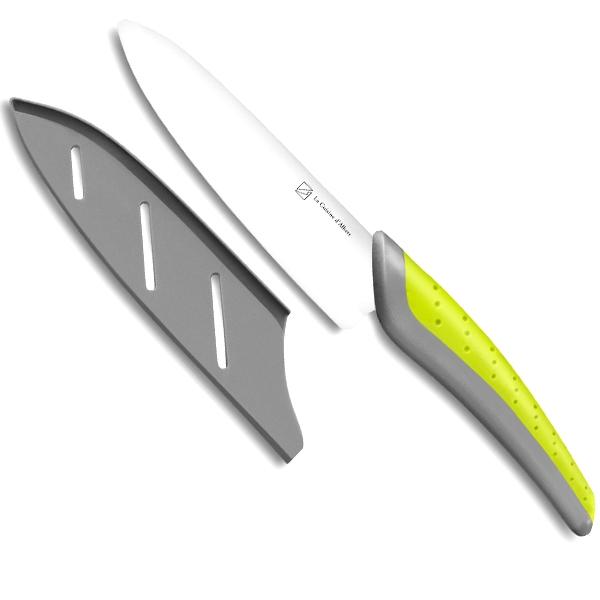 Couteau du chef lame 15 cm c ramique blanc manche bicolore surmoul - Coffret couteaux de cuisine ...